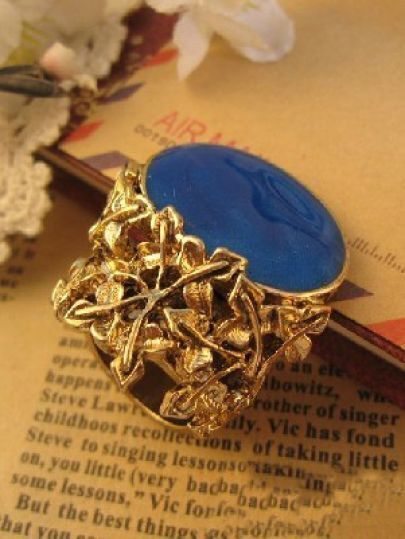 Blue Gemstone Vintage Gold Rings