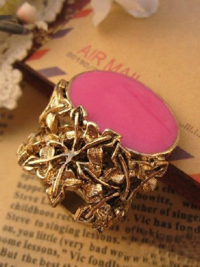 Pink Gemstone Vintage Gold Rings