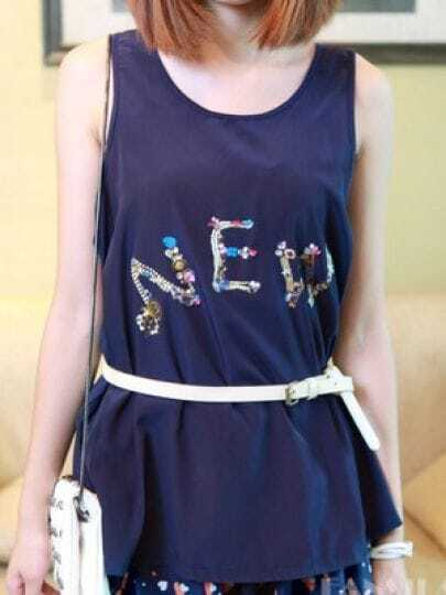 Navy Sleeveless Rhinestone NEW Print Flare Chiffon Tank Top
