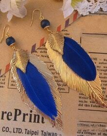 Blue Feather Gold Leaves Dangle Earrings