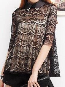 Black Half Sleeve Zipper Back Floral Lace Flare Shirt