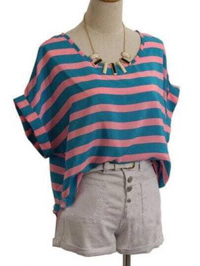 Sky Blue Round Neck Roll Short Sleeve Striped Chiffon Shirt