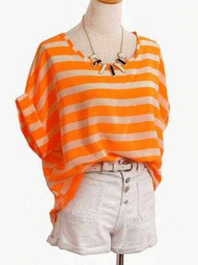 Orange Round Neck Roll Short Sleeve Striped Chiffon Shirt