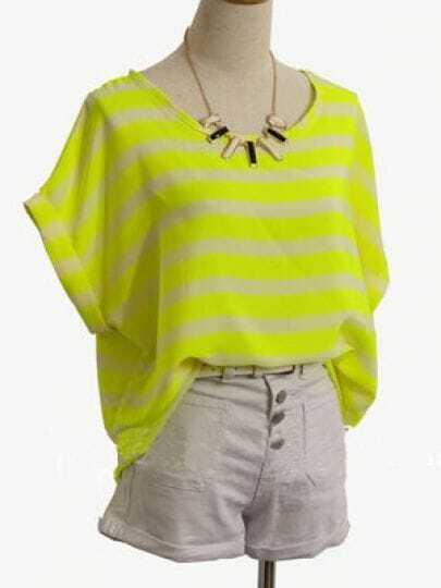 Yellow Roll Short Sleeve Striped Chiffon Shirt