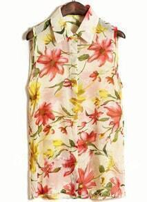 Beige Sleeveless Big Flower Print Chiffon Shirt