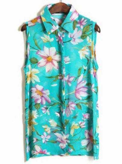 Green Sleeveless Big Flower Print Chiffon Shirt