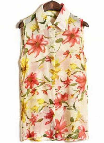 Beige Sleeveless Big Flower Print Chiffon Shirt