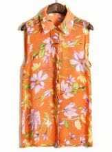 Orange Sleeveless Big Flower Print Chiffon Shirt