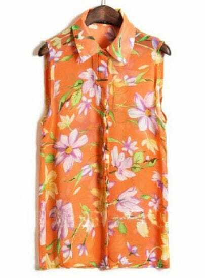 Orange Sleeveless Big Flower Print Chiffon Shirt