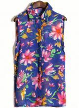 Blue Sleeveless Big Flower Print Chiffon Shirt