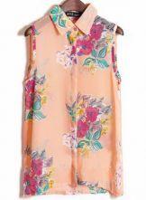 Pink Sleeveless Big Flower Print Chiffon Shirt