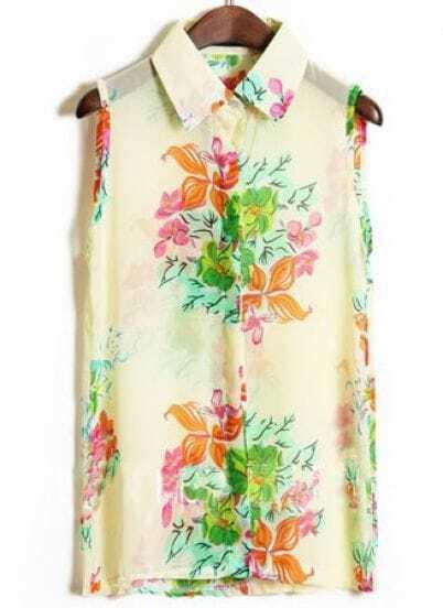 White Sleeveless Big Flower Print Chiffon Shirt