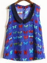 Blue Chelsea Collar Sleeveless Butterfly Print Chiffon Shirt