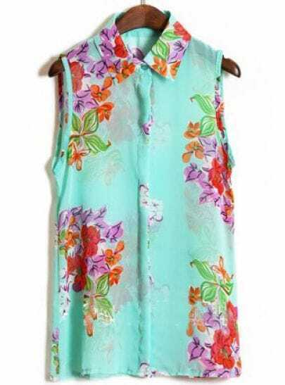 Turquoise Sleeveless Big Flower Print Chiffon Shirt