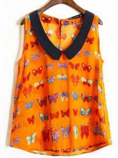 Orange Chelsea Collar Sleeveless Butterfly Print Chiffon Shirt