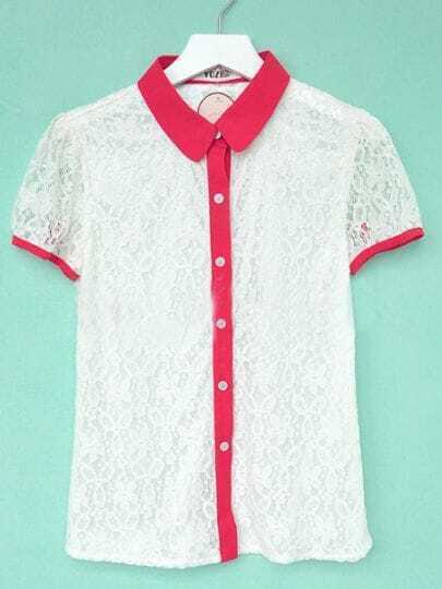 Red Contrast Collar and Cuffs Floral Lace Shirt