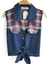 Navy Sleeveless Check Print Caged Tie Crop Denim Shirt