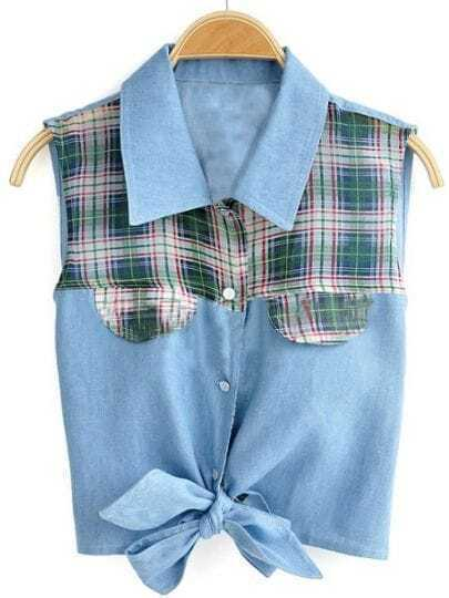 Blue Sleeveless Check Print Caged Tie Crop Denim Shirt