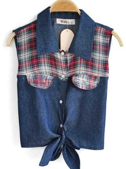 Navy Sleeveless Check Print Caged Tie Crop Denim Shirt