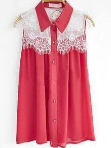 Red Sleeveless Floral Lace Panel Chiffon Pleated Shirt
