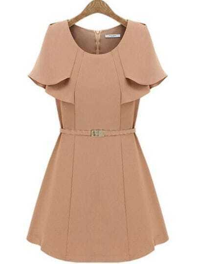 Pink Cape Ruffles Sleeve A-line Short Dress