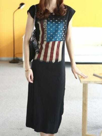 Black Street Short Sleeve Flag Print Sheer Mesh Yoke Dress