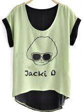 Green Short Sleeve Jacki Avatar Print Hi-lo Chiffon Shirt