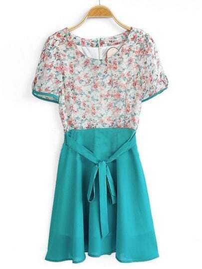 Turquoise Round Neck Short Sleeve Floral Mid Waist Chiffon Shirt