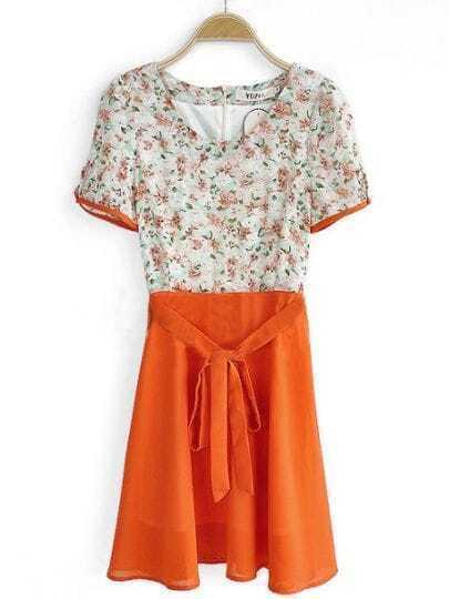 Orange Round Neck Short Sleeve Floral Mid Waist Chiffon Shirt