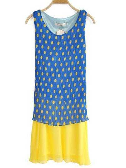 Blue Round Neck Sleeveless Polka Dot Pleated Chiffon Dress