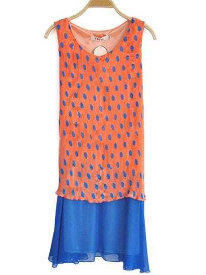 Orange Round Neck Sleeveless Polka Dot Pleated Chiffon Dress