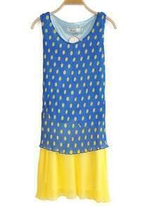 Blue Round Neck Sleeveless Polka Dot Pleated Chiffon Dress