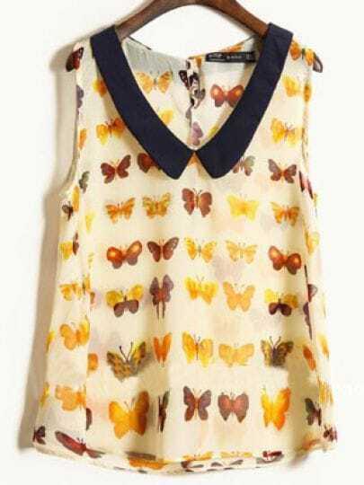 Beige Chelsea Collar Sleeveless Butterfly Print Chiffon Shirt