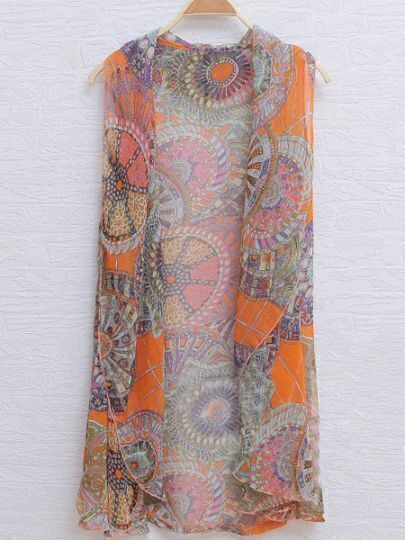 Tribal Print Sleeveless Cape Collar Chiffon Cardigan