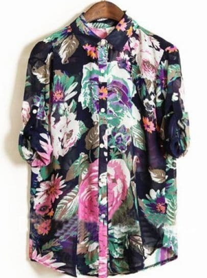Navy Floral Print Turn-up Half Sleeve Curved Hem Chiffon Blouse