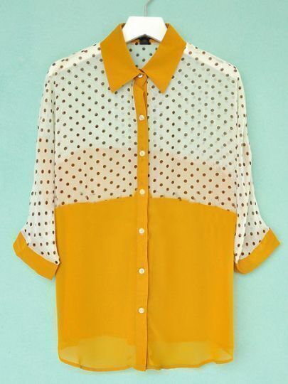 Yellow and White Polka Dot Batwing Sleeve Chiffon Sheer Blouse