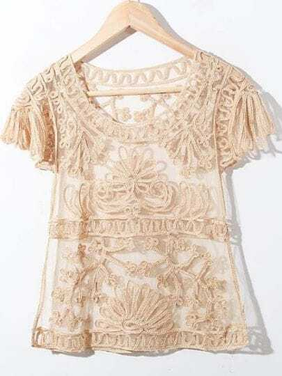 Yelllow Crochet Lace Embroidery Short Sleeve Chiffon Blouse