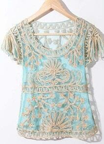 Dark Blue Crochet Lace Embroidery Short Sleeve Chiffon Blouse