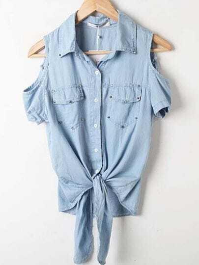 Light Blue Cut Out Shoulder Tie Front Denim Studded Pocket Blouse