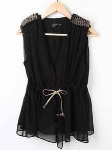 Black V-shape Chiffon Drawstring Epaulettes Vest