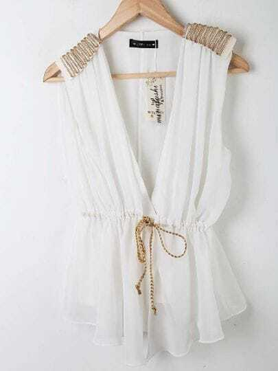 White V-shape Chiffon Drawstring Epaulettes Vest