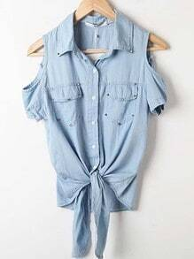 Light Blue Cut Out Shoulder Tie Front Denim Studded Pocket Blouse