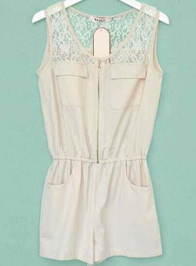 Beige Low Waist Lace Patched Sleeveless Jumpsuit With Zipper