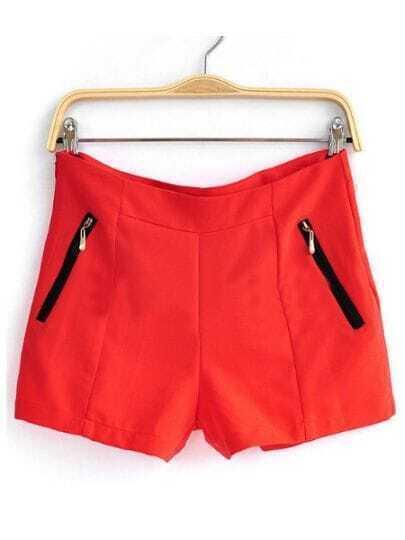 Red High Waist Pocket Shorts