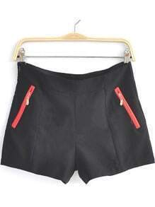 Black High Waist Pocket Shorts