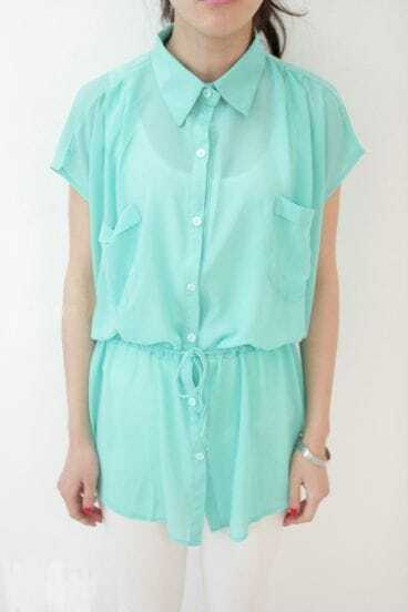 Green Short Sleeve Pockets Tie Waist Sheer Chiffon Shirt