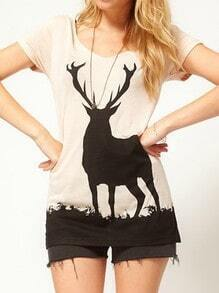 Nude Elk Print Round Neck Short Sleeve T-shirt