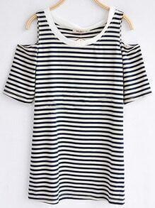 Blue Strip Round Neck Split Sleeve T-shirt