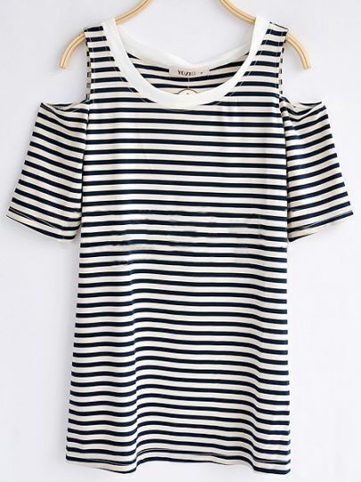 Blue Strip Round Neck Split Sleeve T-shirt