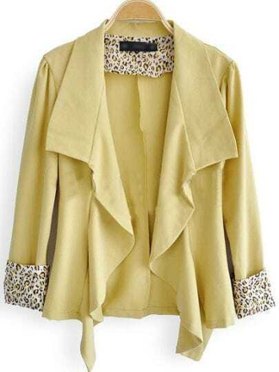 Yellow Leopard Print Lapel Long Sleeve Cardigan Suits